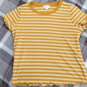 Yellow striped tee shirt
